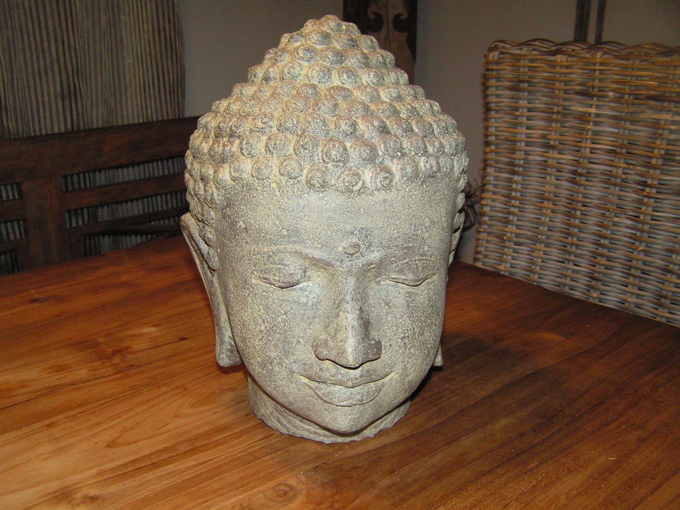 buddha kopf steinguss 50cm h he leicht hohlguss antikfinish gartendekoration hauner. Black Bedroom Furniture Sets. Home Design Ideas