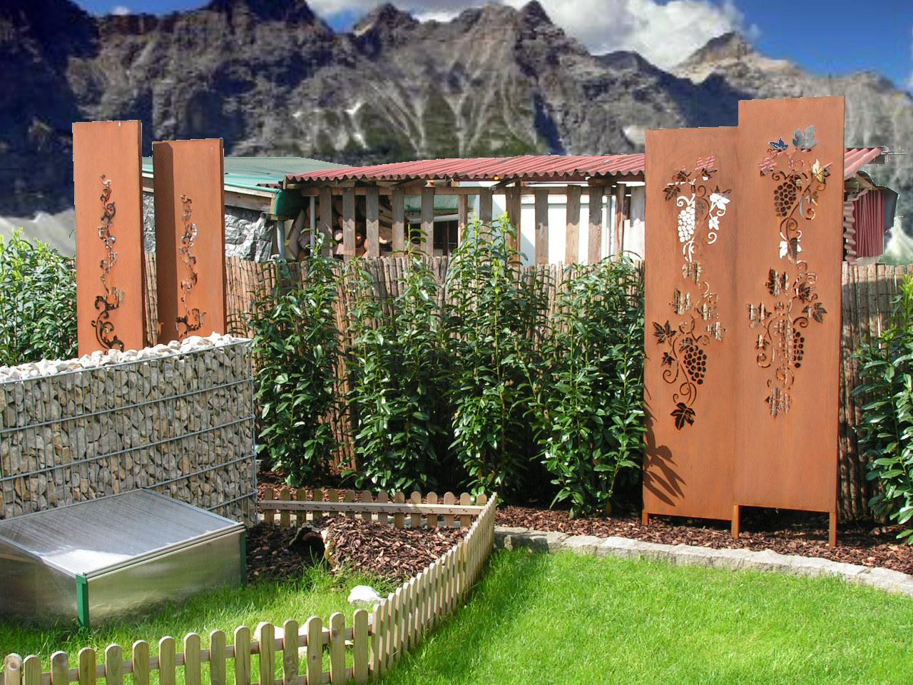 Sichtschutz barock weinrebe gartendekoration hauner for Gartendeko rost gartendekorationen